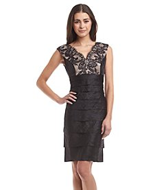 London Times® Petites' Lace Sheath Dress