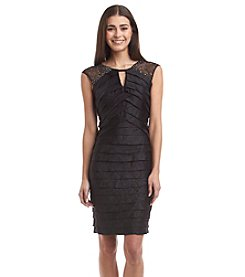 London Times® Petites' Keyhole Shimmer Sheath Dress