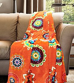 Lush Decor Adrianne Tangerine Flannel Throw