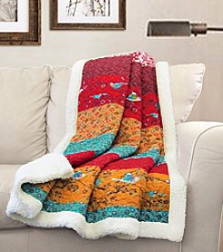 Lush Decor Royal Empire Red and Turquoise Sherpa Throw