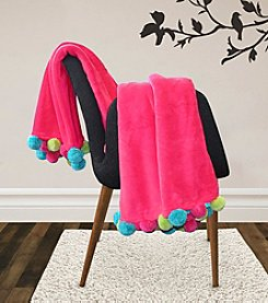 Lush Decor Pom Pom Flannel Throw