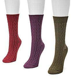 MUK LUKS® Women's 3-Pair Cable Crew Sock Pack