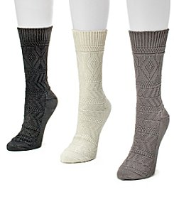 MUK LUKS® Women's 3-Pair Diamond Crew Sock Pack