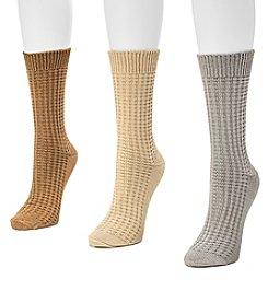 MUK LUKS Women's 3 Pair Waffle Boot Socks