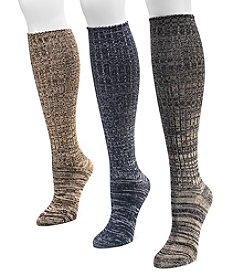 MUK LUKS® Women's 3-Pair Pack Marled Knee-High Socks