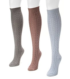 MUK LUKS® Women's 3-Pair Microfiber Boot Sock Pack