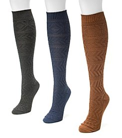 MUK LUKS® Women's 3-Pair Diamond Boot Sock Pack