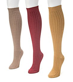MUK LUKS Women's 3-Pack Waffle Knee High Socks