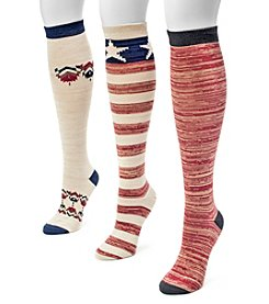 MUK LUKS® Women's 3-Pack Americana Knee-High Socks