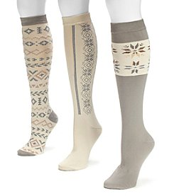 MUK LUKS Women's 3-pack Winter White Knee-High Socks