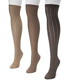 MUK LUKS® Women's 3-Pair Over-the-Knee Textured Socks