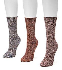 MUK LUKS® Women's Marled 3-Pair Crew Socks