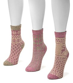MUK LUKS® Women's 3-Pack Holiday Crew Socks