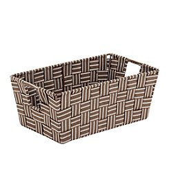 Simplify Small Striped Woven Strap Shelf Tote with Open Handles