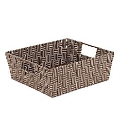 Simplify Striped Woven Strap Shelf Tote with Open Handles
