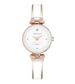 Anne Klein® White and Rose Goldtone Diamond Dial Bangle