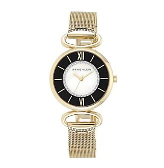 Anne Klein® Goldtone Mesh Bracelet with Detailed Dial