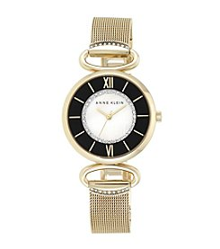 Anne Klein® Goldtone Mesh Bracelet with Detailed Dial
