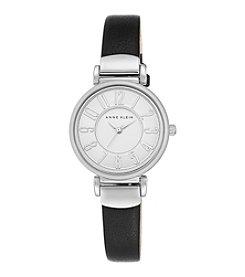 Anne Klein® Silvertone and Black Leather Strap Watch