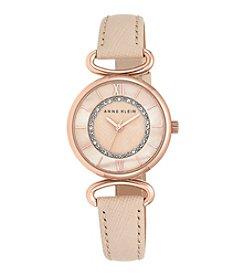 Anne Klein® Rose Goldtone Blush Leather Strap Watch