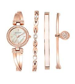 Anne Klein® Rose Goldtone Crystal Bangle & Watch Set