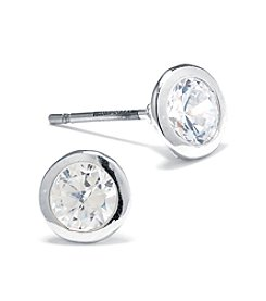 Athra Silver Plated Round Shape Cubic Zirconia Stud Earrings