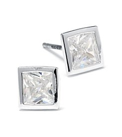Athra Silver Plated Square Shape Cubic Zirconia Stud Earrings