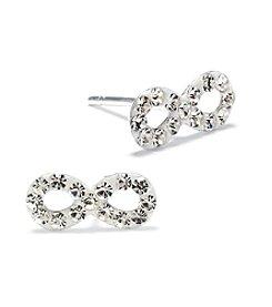Athra Silver Plated Crystal Infinity Stud Earrings