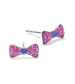 Athra Silver-Plated Pink Bowtie Stud Earrings