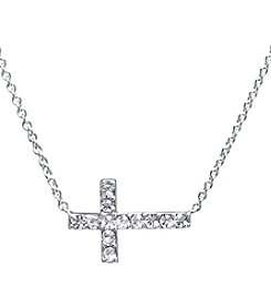 Athra Silver-Plated Sideways Crystal Cross Necklace