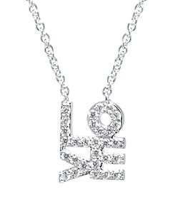 Athra Silver-Plated Cubic Zirconia Love Necklace