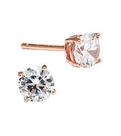 Athra Rose Gold-Plated Sterling Silver Cubic Zirconia Stud Earrings