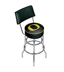 NCAA® University of Oregon Swivel Bar Stool with Back - Carbon Fiber