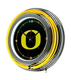 NCAA® University of Oregon Chrome Double Rung Neon Clock - Carbon Fiber
