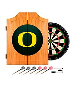 NCAA® University of Oregon Wood Dart Cabinet Set - Carbon Fiber
