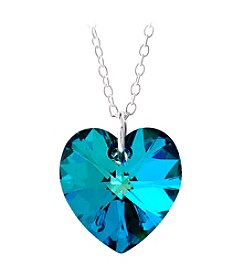 Sterling Silver Bermuda Blue Swarovski Crystal Heart Pendant Necklace