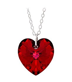 Sterling Silver Ruby Swarovski Crystal Heart Pendant Necklace
