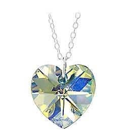 Sterling Silver Aurora Borealis Swarovski Crystal Heart Pendant Necklace