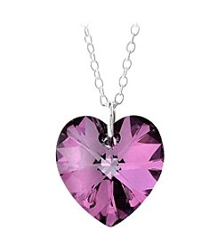 Sterling Silver Vitrail Light Purple Swarovski Crystal Heart Pendant Necklace