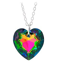 Sterling Silver Vitrail Medium Green Swarovski Crystal Heart Pendant Necklace