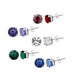 Silver-Plated 5 Pair Swarovski® Crystal Earrings Set