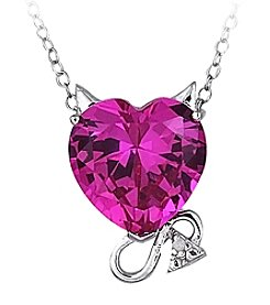Sterling Silver & Created Pink Sapphire with Diamond Accent Devil Slide Pendant Necklace