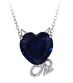 Sterling Silver & Created Blue Sapphire with Diamond Accent Devil Slide Pendant Necklace