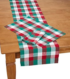 LivingQuarters Holiday Buffalo Check Table Linens