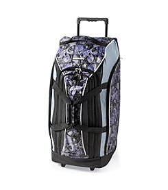 Ciao! Purple Paisley Wheeled Duffel Bag with Front Bungee Cord