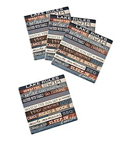 Ruff Hewn Set Of 4 Lake Rules Coasters