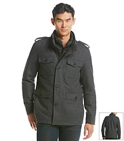GUESS Men's Wool Military Jacket With Bib