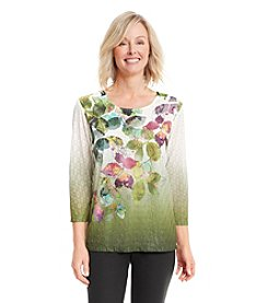 Alfred Dunner® Calabria Leaf Print Knit Top