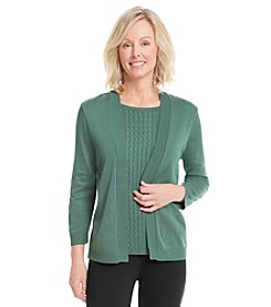 Alfred Dunner® Solid Cable Knit Layered Look Sweater