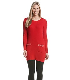 Notations® Ribbed Embellished Sweater Tunic